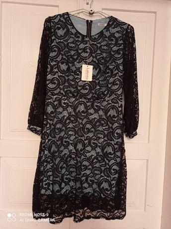 Плаття гіпюрове з бірюзовою підкладкою