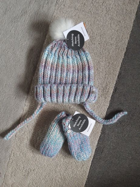 NOWY Czapka i rękawiczki dziewczęce niemowlęce 6-9m-cy