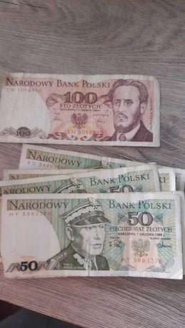 Stare banknoty, 50 oraz 100 zl.
