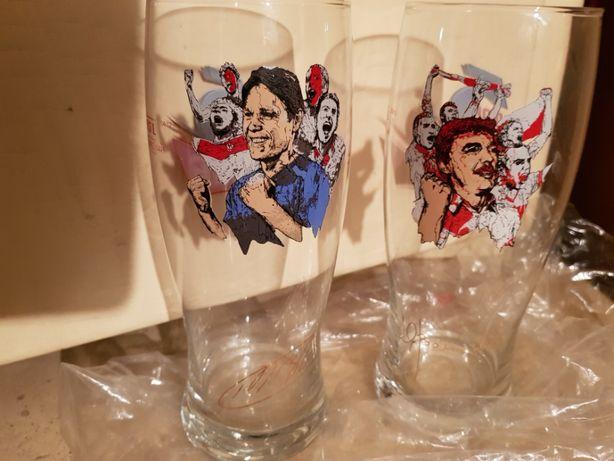 2 szklanki do piwa okolicznościowe z piłkarzami