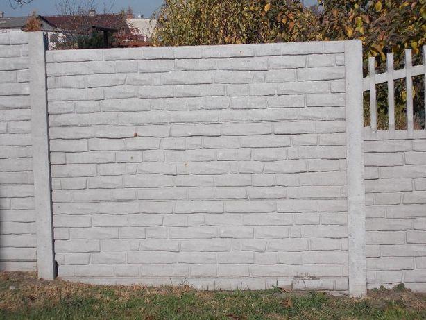Ogrodzenie betonowe wys 1,5m wzór cegła