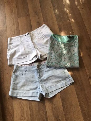 Шорты белые, джинсовые 2 шт+блуза М