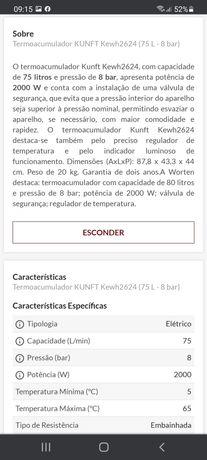 Termo acumolador Kunft 80 litros