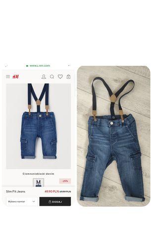 Spodnie jeansy szelki ogrodniczki HM rozm 86 idealny stan