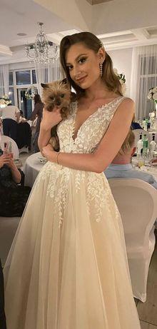 SUKNIA ŚLUBNA HAPPY DAYS JAYA 36 34 glamour boho wesele + GRATIS buty