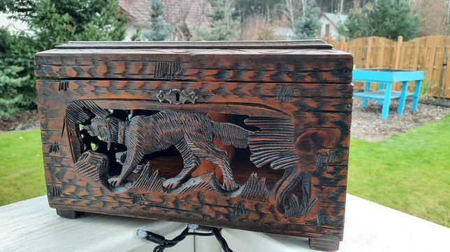 Duża bardzo stara szkatułka drewniana po renowacji antyk!!