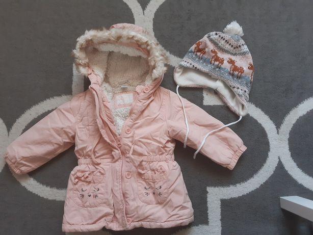 kurtka dla dziewczynki 80 jesienno zimowa + czapka H&M