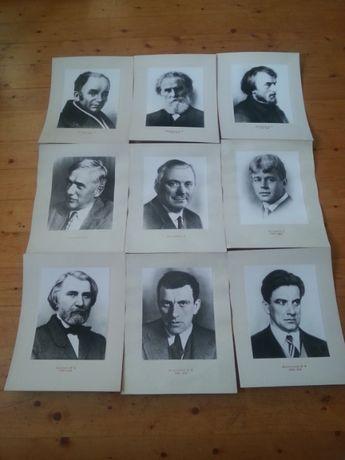 Старинные советские фото из СССР Портреты писателей на паспарту.