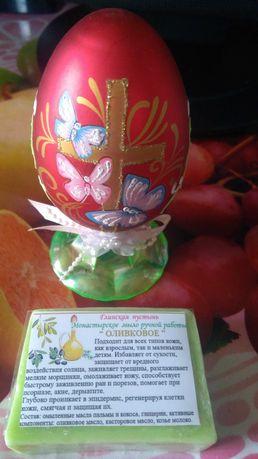 Сувенирное пасхальное яйцо + монастырское мыло ручной работы