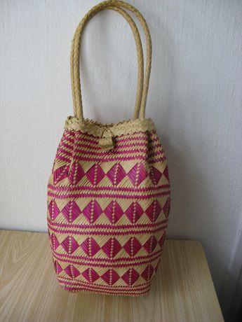 Винтажная плетеная сумка корзина из соломки