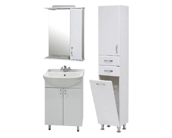 Комплект мебели в ванную: тумба с умывальником, шкаф с зеркалом, пенал