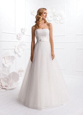 Tiulowa sukienka ślubna firmy Elizabeth Passion rozmiar M + stroik