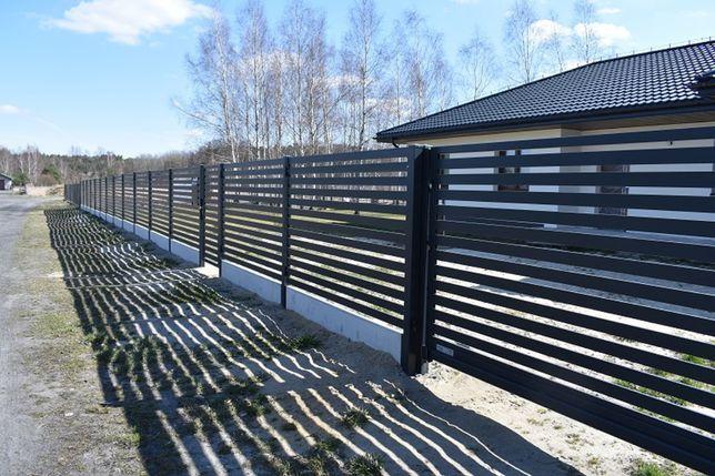 Ogrodzenia metalowe, poziome, nowoczesne, palisadowe.