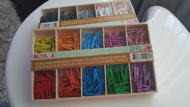 Kolorowe małe klamerki 200szt