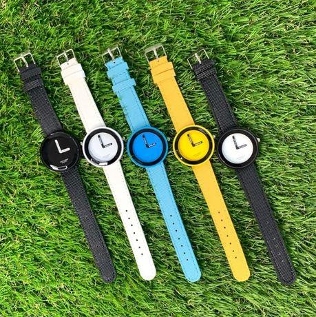 Часы женские Womage черные голубые желтые белые летние кожзам эко-кожа