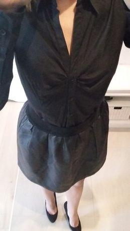 koszula czarna dekolt V w szpic podwijane rękawy długi rękaw 36