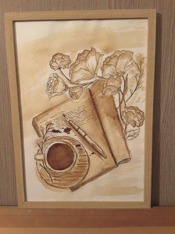 Интерьерная картина написана кофе А/4