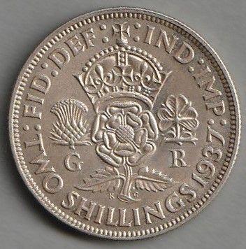 moneta Wielka Brytania 2 shillings 1939 - srebro - Jerzy VI - stan 1 -