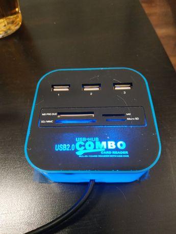 Czytnik kart hub USB sd combo sdhc microsd port rozdziałka