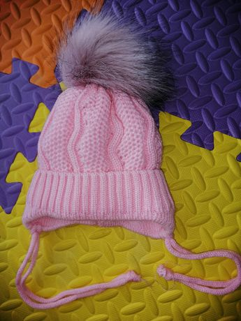 Зимняя шапочка с помпоном для новорожденных шапка детская