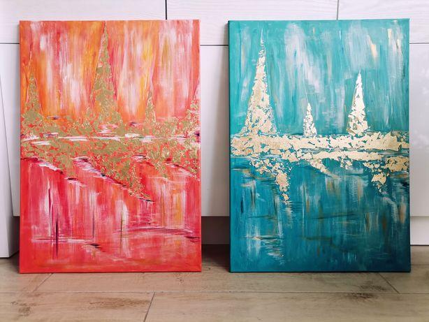 Obrazy akrylowe 50x70 morze złoto 2 szt. ręcznie malowane na płótnie