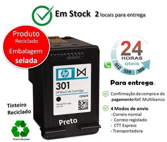 Tinteiro HP 301 reciclado | PRETO + 166%
