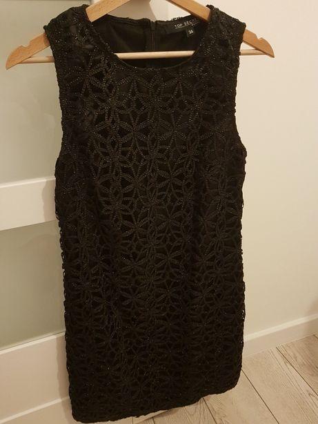 Sukienka czarna błyszcząca top secret r.34