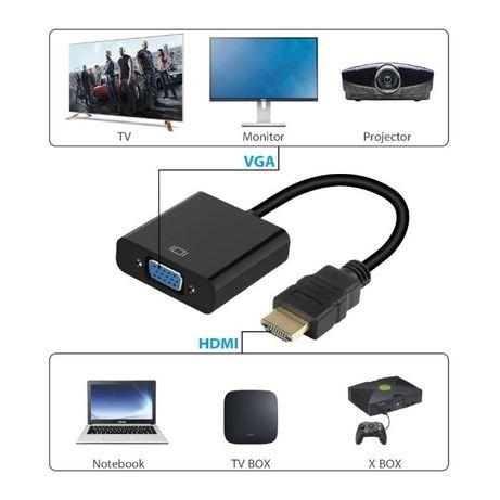 Конвертер HDMI to VGA с аудио, переходник, адаптер от HDMI на VGA