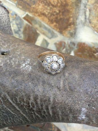 Anel ouro 19,2 Quilt. diamantes talhe Antigo 2.1 cm 3,4 gramas Anos30