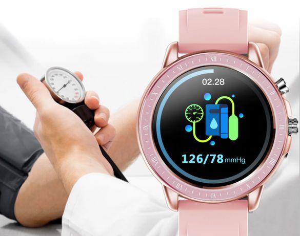 Samartwatch Rose Gold v.2021 jak Samsung Watch, Pomiar Tlenu, Tętna PL