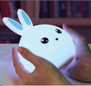 Светильник игрушка кролик котик ночник силиконовый мягкий