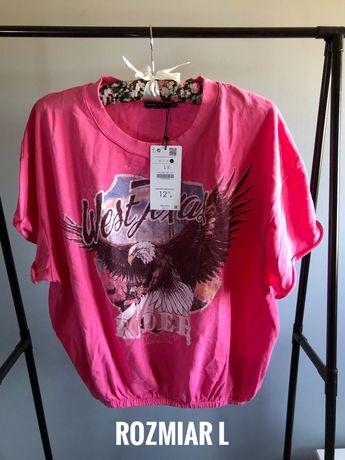 L nowy T-shirt ze ściągaczami orzeł różowy bershka