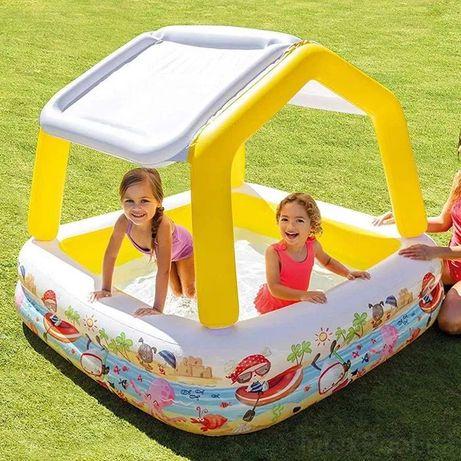 Детский надувной бассейн Intex с навесом