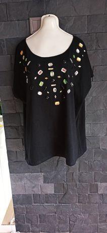 Czarna bluzka z kamieniami XXL, nowa