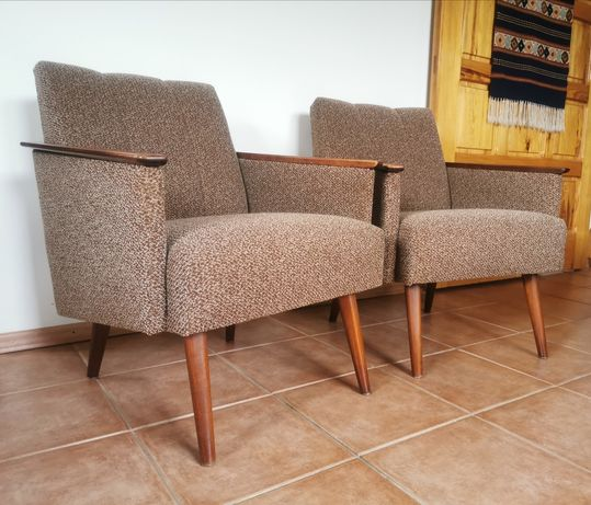 Designerska para foteli lata 60. vintage oryginalna tapicerka drewno