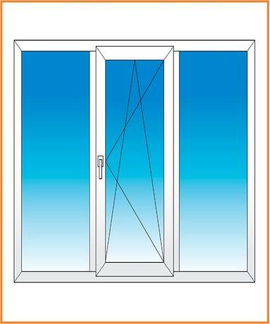 Окно металлопластиковое 2100*1400, трехстворчатое, трехсекционное