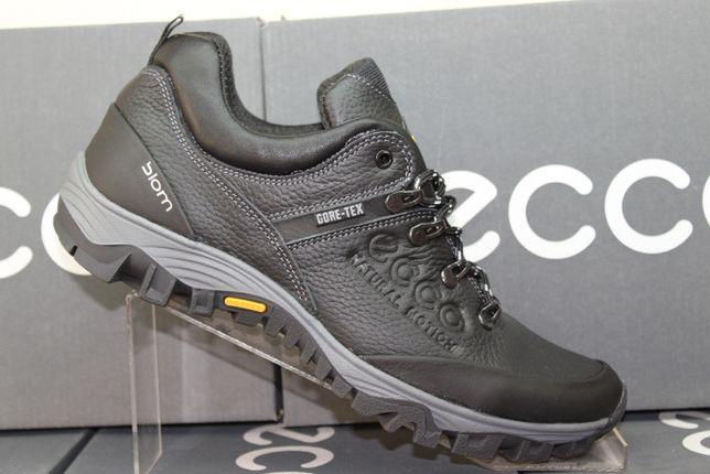 ECCO- черные кожаные кроссовки - туфли. (код:6-22чер.)