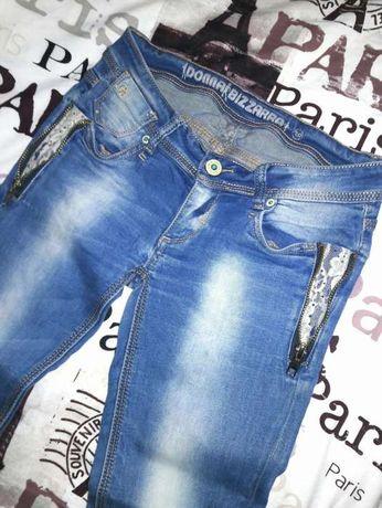 Spodnie jeans zamki i koronka
