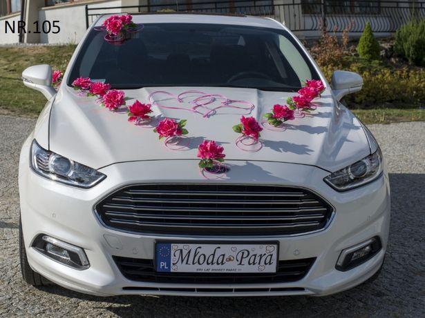 Bogata dekoracja na samochód do ślubu-dostępna w różnych KOLORACH.