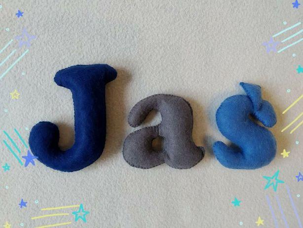 Literki ozdobne z filcu, imię, napis