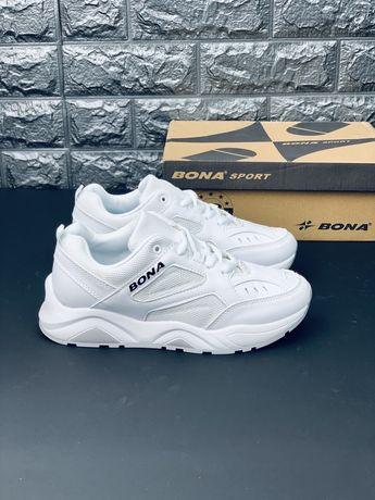 Белые кожаные кроссовки Бона, все размеры!!! Скидка!!! Bona Распродажа