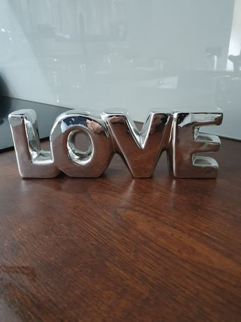 Słowo LOVE ceramika srebrzona