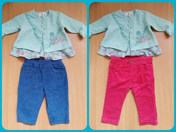 Комплект вельветовые брючки брюки для девочки 3-6 месяцев 62-68 см