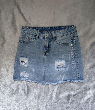 Джинсовая укороченая юбка