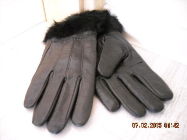 Rękawiczki czarne skórzane damskie