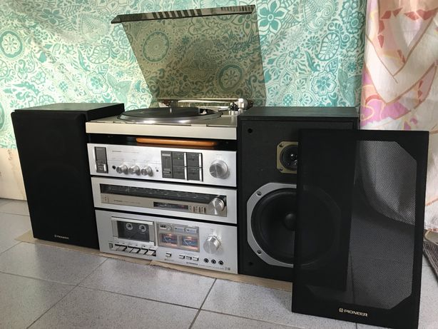 Aparelhagem amplificador tuner gira discos vinil colunas pioneer