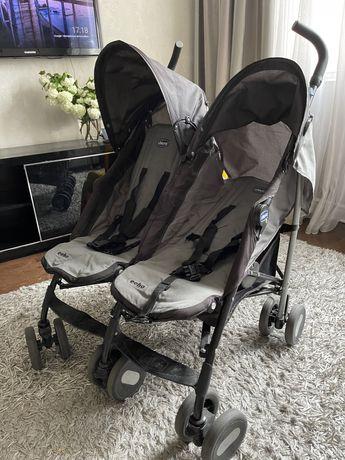 Детская прогулочная коляска для двойни или погодок Chicco Echo