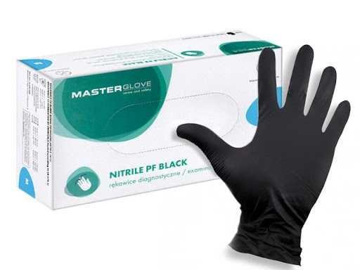 Rękawiczki nitrylowe MASTER GLOVE czarne niebieskie ochronne S M L XL