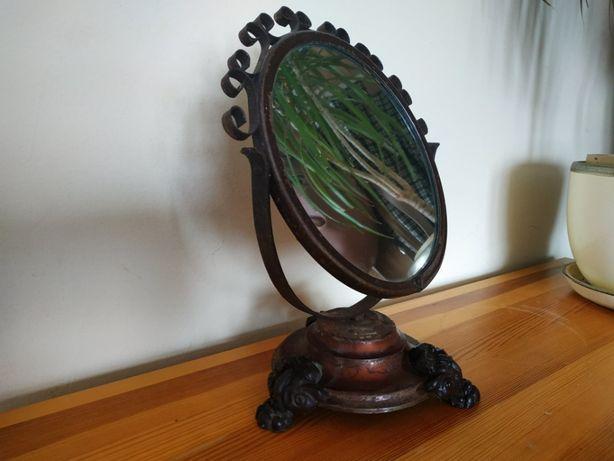 Sprzedam lustro lusterko antyk zabytek metal drewno stojące toaletka
