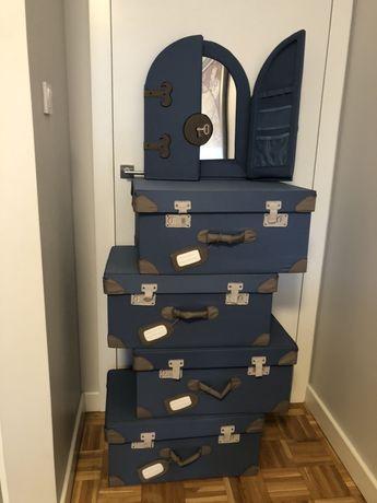 Pudełko skrzynia na zabawki Ikea (Flyttbar) 4szt i lustro